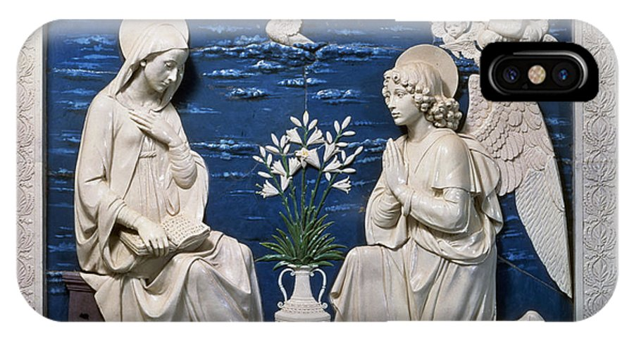 15th Century IPhone X Case featuring the painting Della Robbia: Annunciation by Granger
