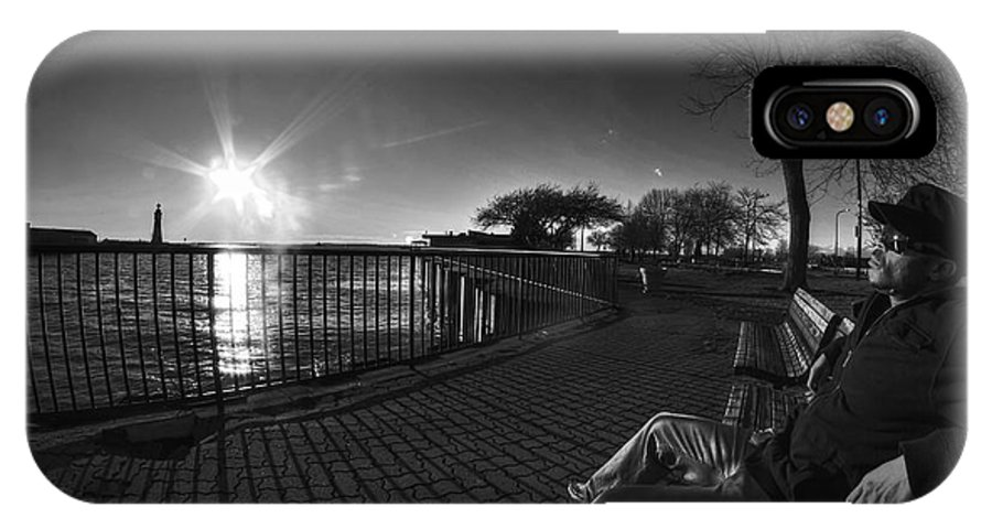 Buffalo IPhone X Case featuring the photograph 04 Me Sunset 16mar16 Bw by Michael Frank Jr