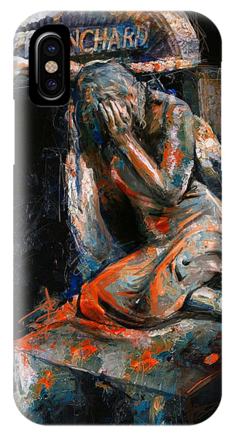 Weeping Lady IPhone X Case featuring the painting 073 Weeping Lady F.w. Blanchard Grave Monument- Hollywood Forever Cemetery by Maryam Mughal