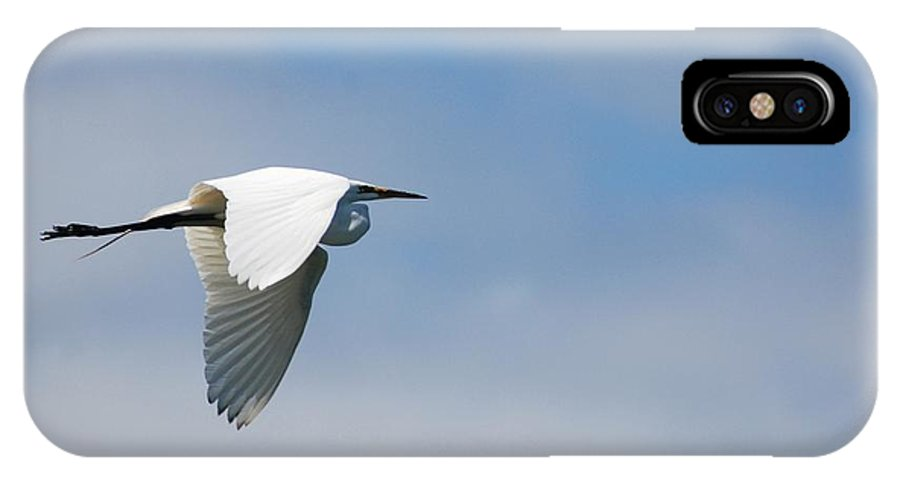 Crane IPhone X Case featuring the photograph .. Fly...fly Alone... by Catherine Lau