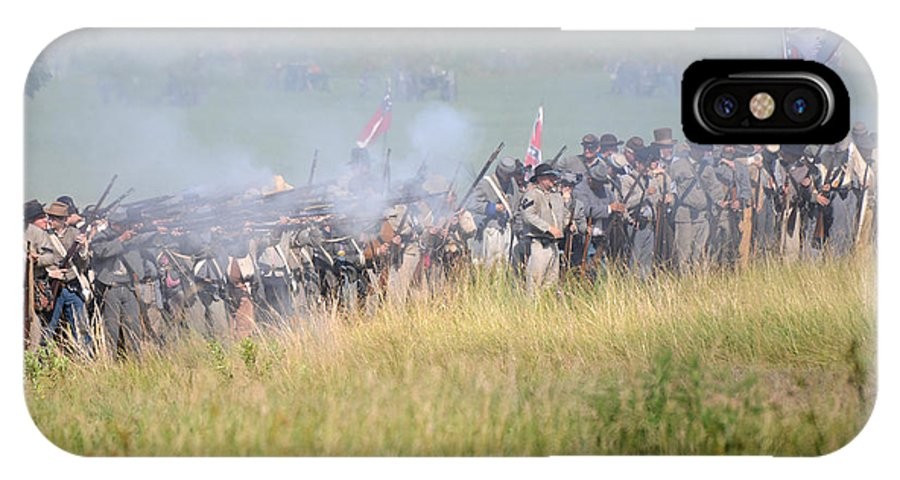 150th IPhone X Case featuring the photograph Gettysburg Confederate Infantry 7503c by Cynthia Staley