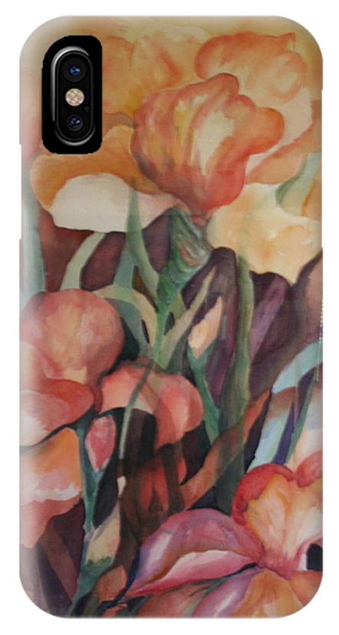 Flowers IPhone X Case featuring the painting Rainbow by Donna Steward