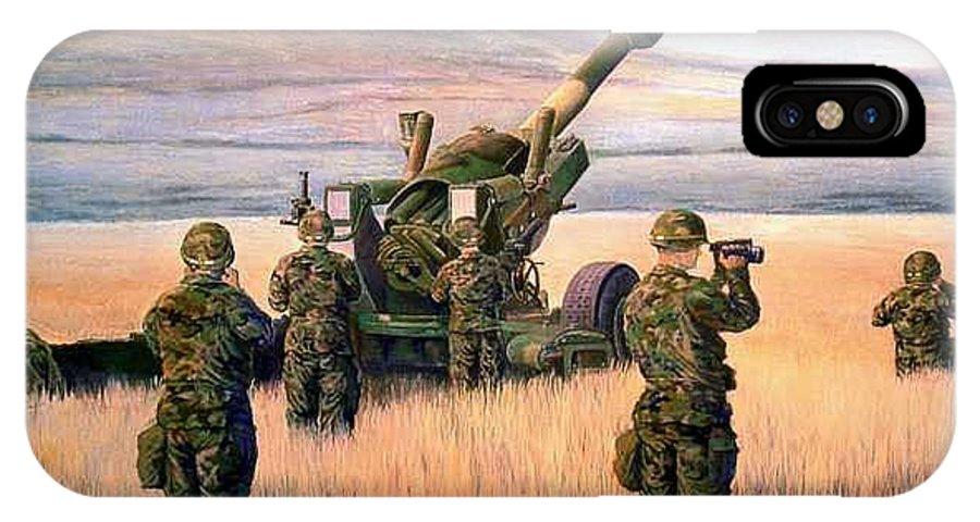 Signed And Numbered Prints Of The Montana National Guard IPhone X Case featuring the print 1-190th Artillery by Scott Robertson