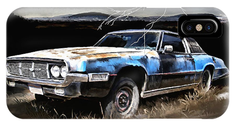 Thunder IPhone X Case featuring the painting 69 Thunderbird by Susan Kinney