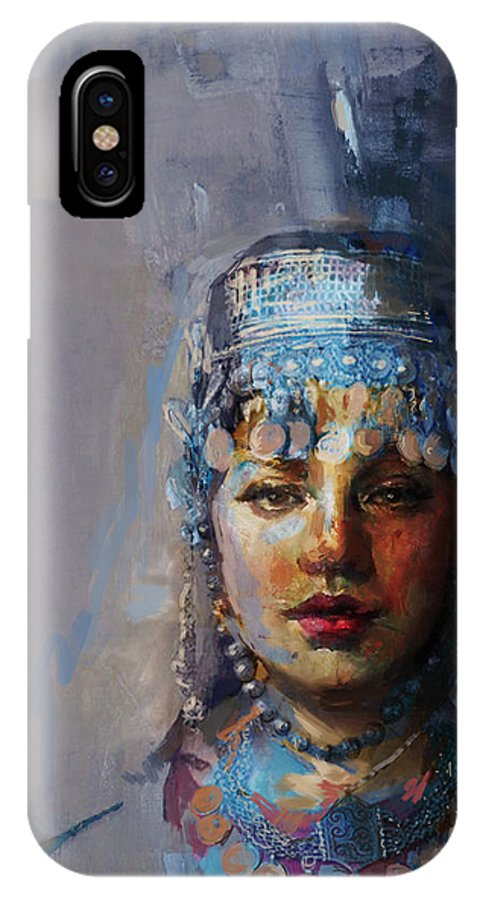 Sindh IPhone X Case featuring the painting 9 Pakistan Folk Khyber Pakhtunkhwac by Mahnoor Shah