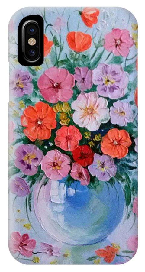 A Bouquet Of Flowers IPhone X Case featuring the painting A Bouquet Of Flowers by Olha Darchuk