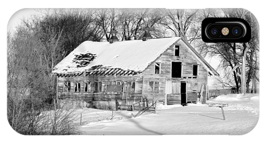 Fence IPhone X Case featuring the photograph A Hard Life Winter 2 by Bonfire Photography