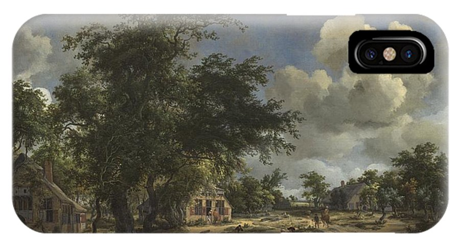 IPhone X Case featuring the painting A View On A High Road by Meindert Hobbema