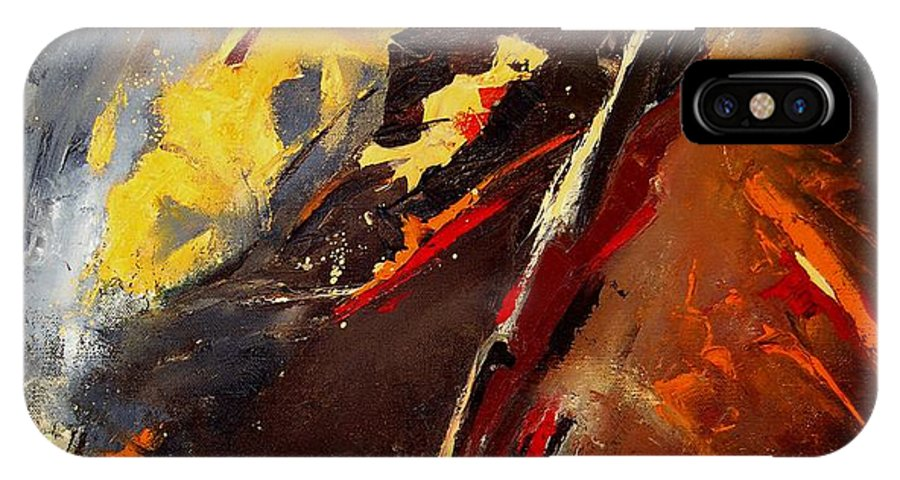 Abstract IPhone X Case featuring the painting Abstract 12 by Pol Ledent