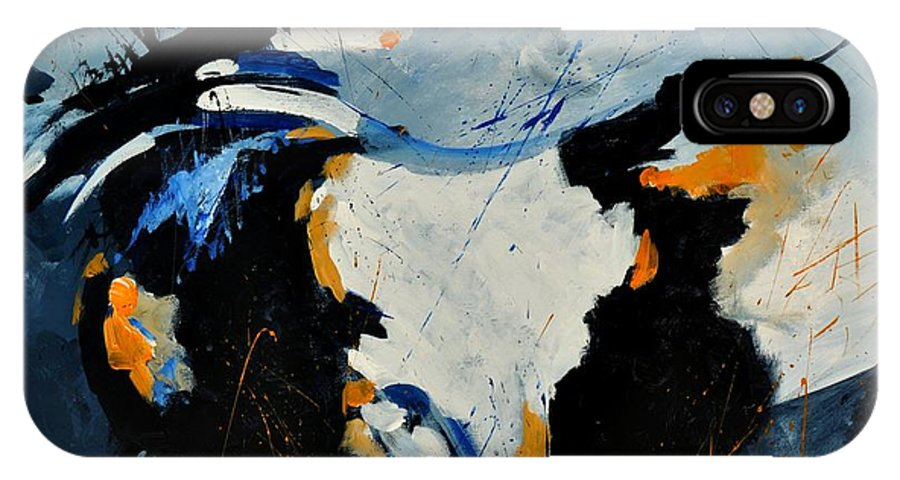 Abstract IPhone X Case featuring the painting Abstract 880150 by Pol Ledent