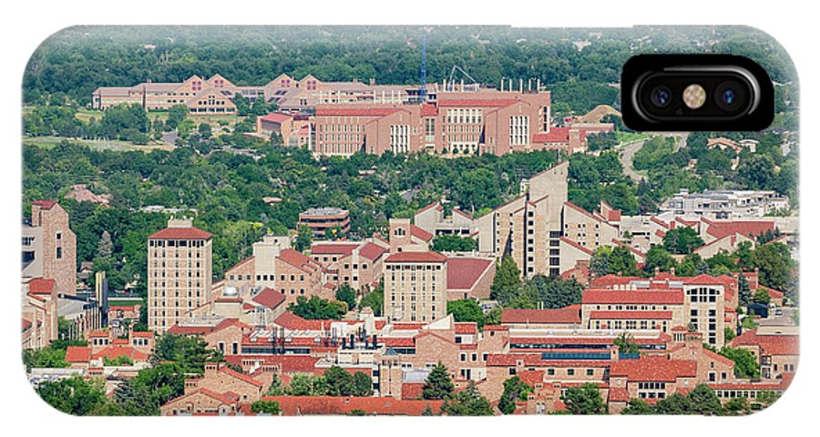 Colorado IPhone X Case featuring the photograph Aerial View Of The Beautiful University Of Colorado Boulder by Chon Kit Leong