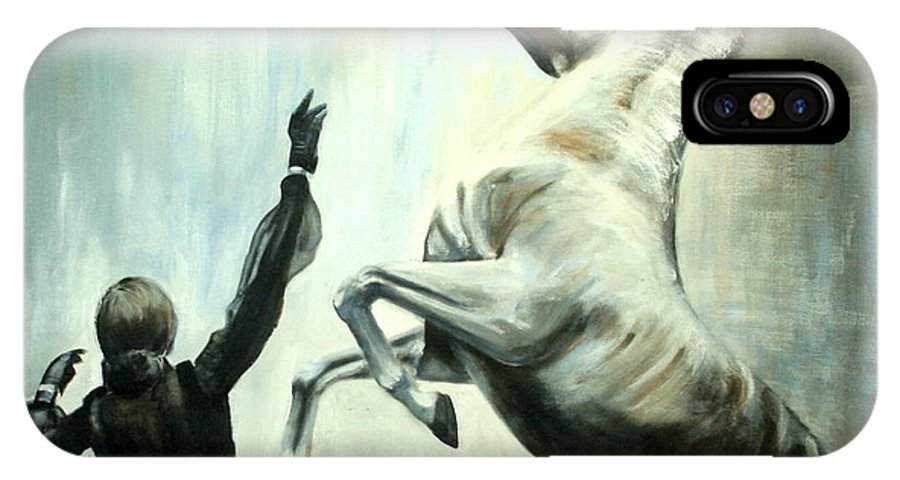 Horses IPhone X Case featuring the painting Amazing Grace by Fiona Jack