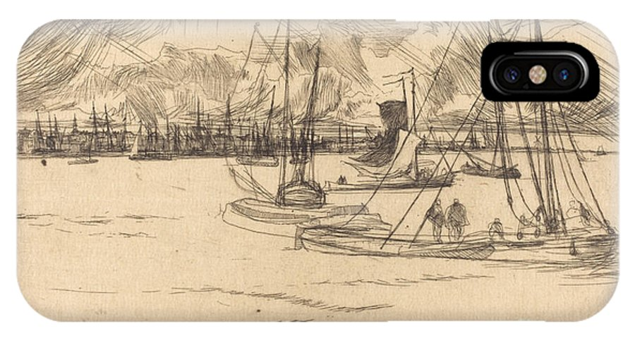 IPhone X Case featuring the drawing Amsterdam From The Tolhuis by James Mcneill Whistler