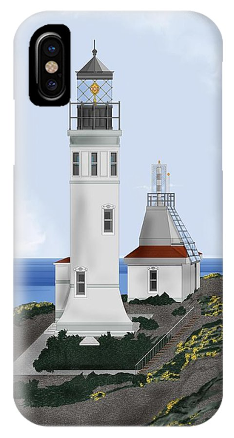 Lighthouse IPhone X Case featuring the painting Anacapa Lighthouse California by Anne Norskog