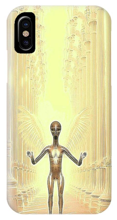 Ufo IPhone X Case featuring the digital art Ancient Alien Angel by Raphael Terra