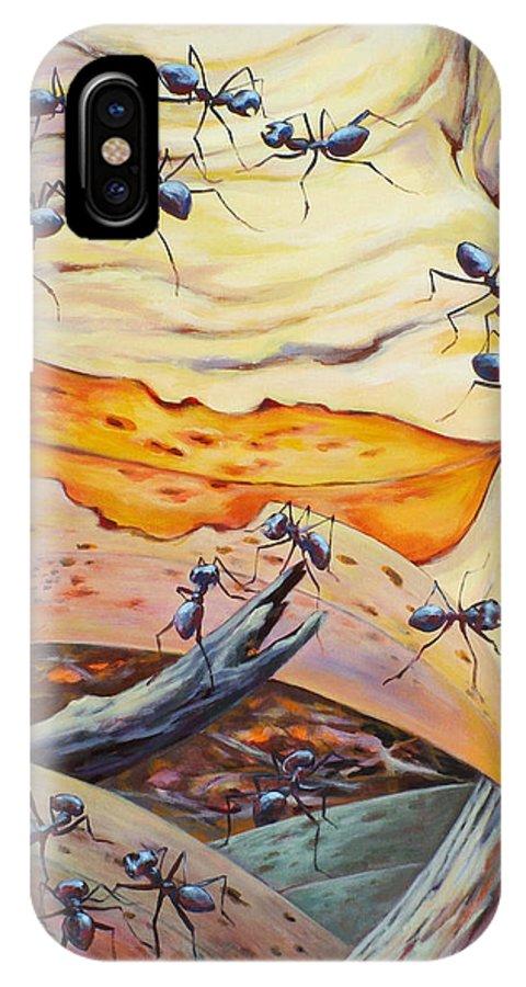 Ekaterina Mortensen IPhone X Case featuring the painting Ants Landscape by Ekaterina Mortensen