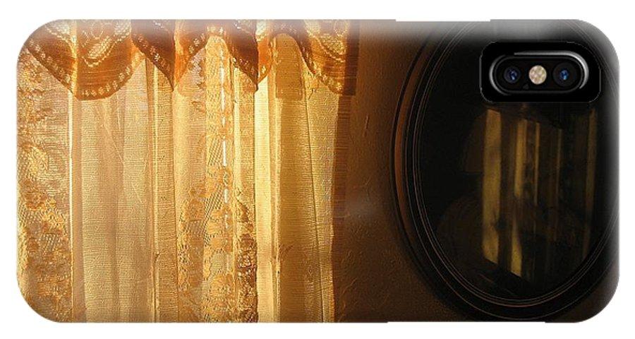 Art Homage Edward Hopper Winter Light Window Curtain Reflection Bedroom Casa Grande Arizona 2005 IPhone X Case featuring the photograph Art Homage Edward Hopper Winter Light Window Curtain Reflection Bedroom Casa Grande Arizona 2005 by David Lee Guss