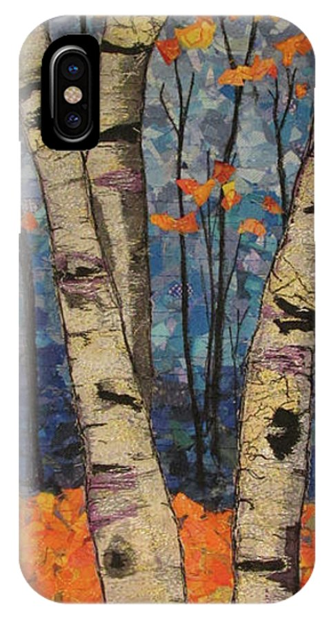 Landscape IPhone X Case featuring the tapestry - textile Autumn Birch by Dolores Fegan