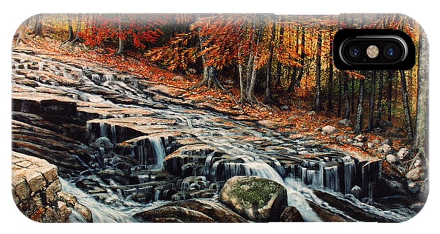 Landscape IPhone X Case featuring the painting Autumn Cascade by Frank Wilson