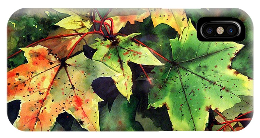 Watercolour IPhone X Case featuring the painting Autumn Leaves by Paul Dene Marlor