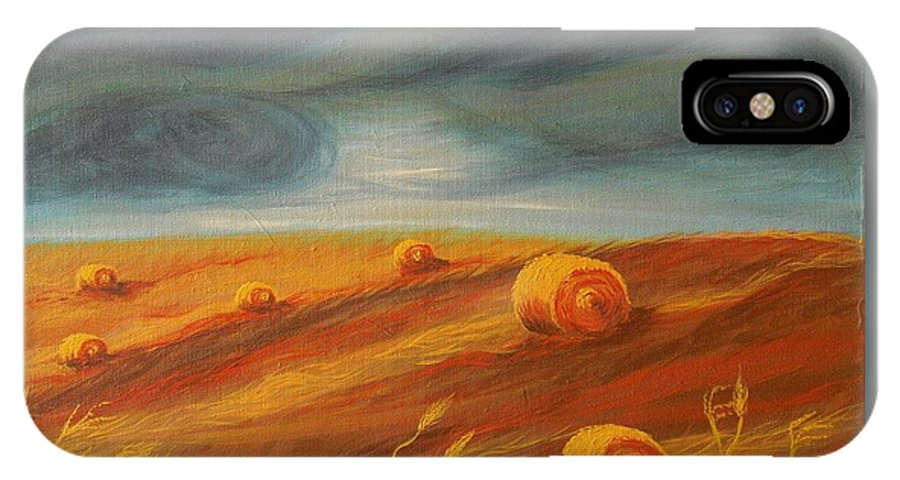 Landscape IPhone X Case featuring the painting Autumn Storm by Jana Caissie