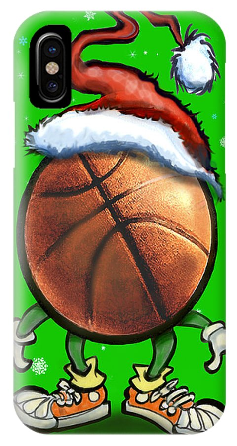 Basketball IPhone X / XS Case featuring the digital art Basketball Christmas by Kevin Middleton