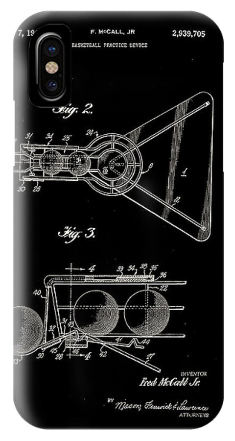 Basketball IPhone X Case featuring the digital art Basketball Practice Device Patent 1960 Part 2 by Claire Doherty