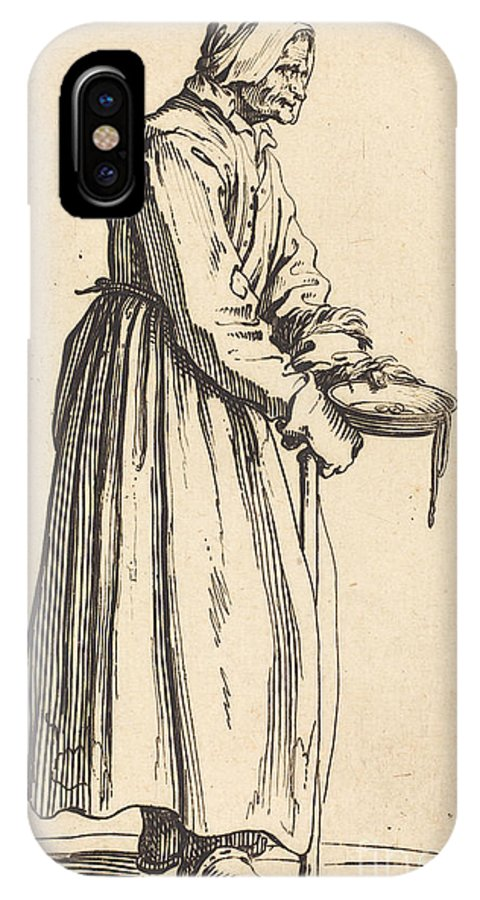 IPhone X Case featuring the drawing Beggar Woman With Pan by Jacques Callot
