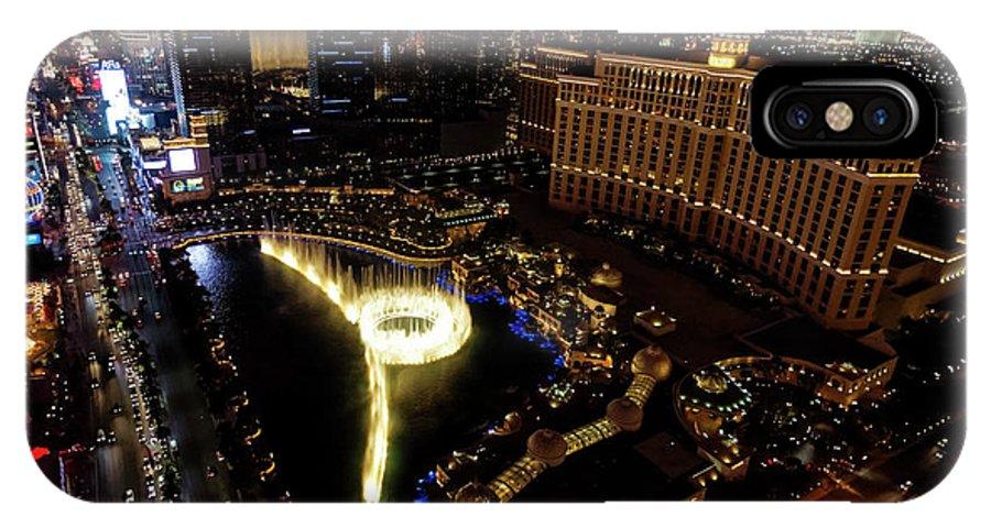 Las Vegas IPhone X Case featuring the photograph Bellagio Hotel Fountain, Las Vegas by Sv