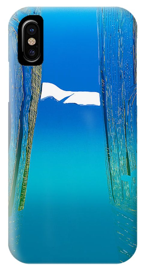 Landscape IPhone Case featuring the mixed media Between Two Mountains. by Jarle Rosseland