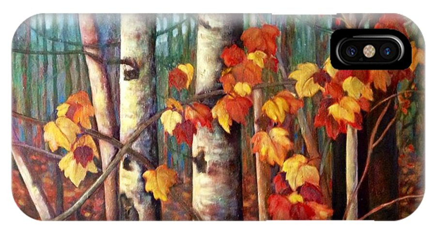 Landscape IPhone X Case featuring the painting Birch And Maple by Brenda Loschiavo
