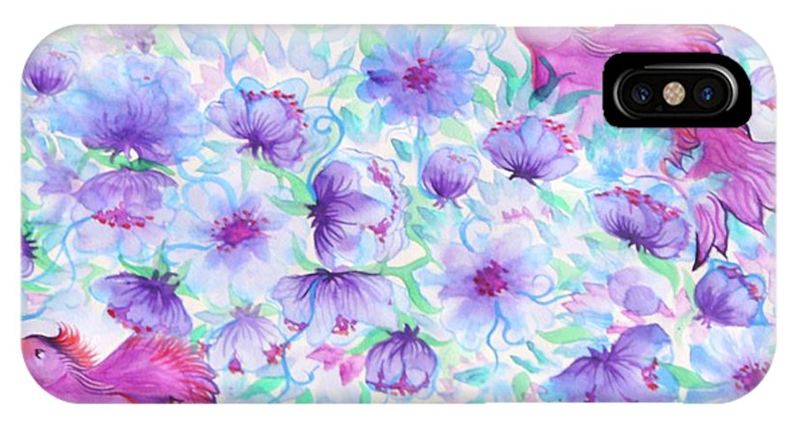 Flower IPhone X / XS Case featuring the digital art Bird And Flowers by Sandrine Kespi