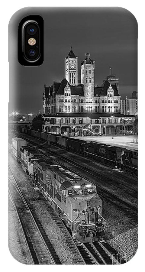 Nashville IPhone X Case featuring the photograph Black And White Fine Art Print Of Union Station In Nashville, Tennessee by Jeremy Holmes