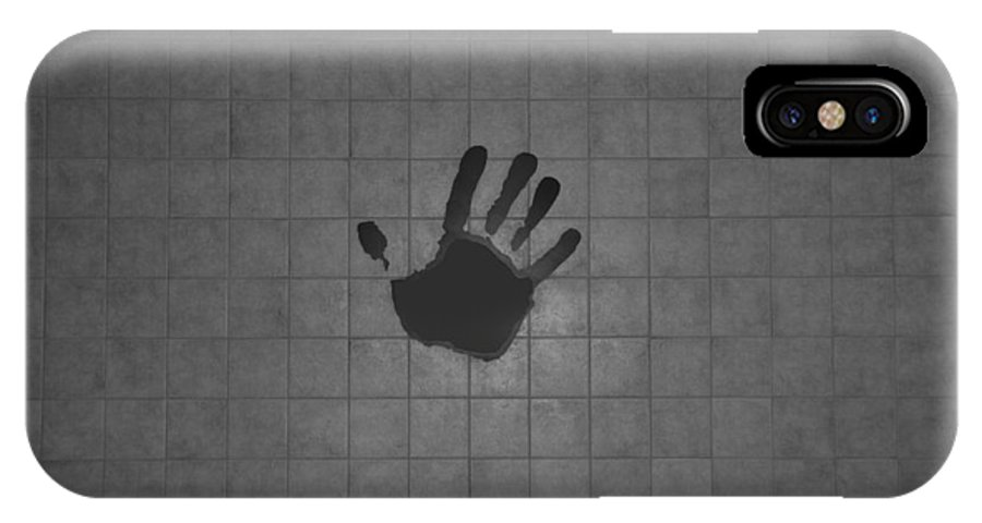 Hand Print IPhone X Case featuring the photograph Black Hand by Rob Hans