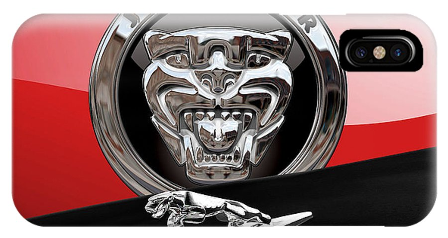 'auto Badges' Collection By Serge Averbukh IPhone X Case featuring the photograph Black Jaguar - Hood Ornaments And 3 D Badge On Red by Serge Averbukh