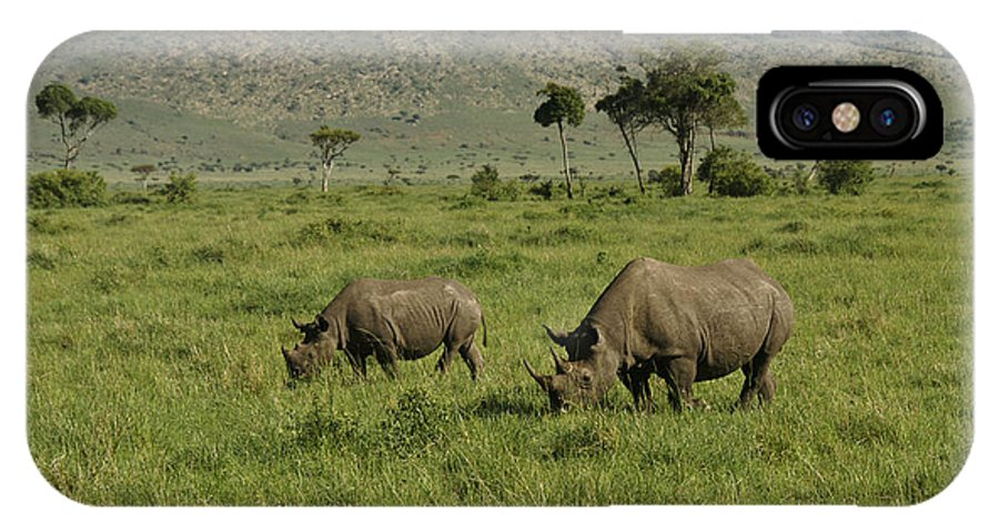 Africa IPhone X Case featuring the photograph Black Rhinos by Michele Burgess