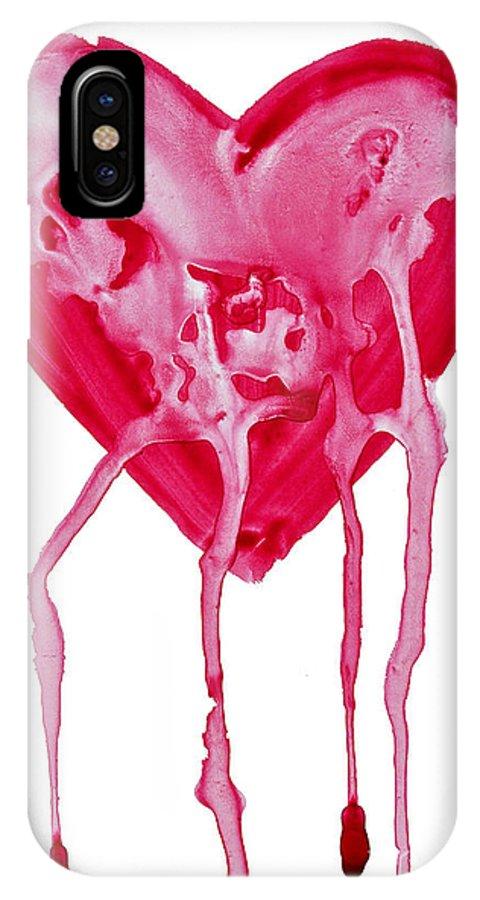 Valentine's Day IPhone X Case featuring the painting Bleeding Heart by Michal Boubin