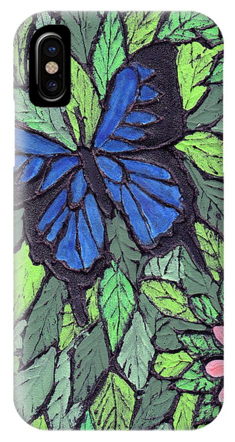 Butterfly IPhone X Case featuring the painting Blue Butterfly Two by Wayne Potrafka