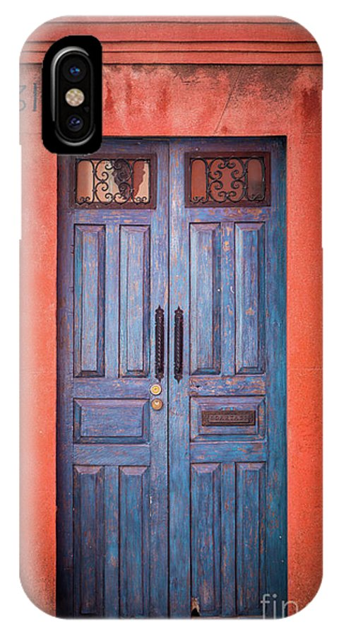 America IPhone X Case featuring the photograph Blue Door by Inge Johnsson