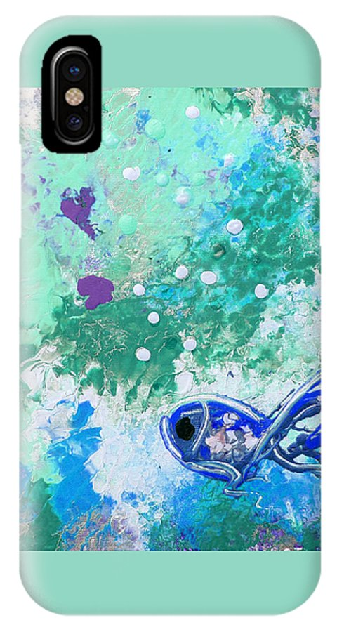 Fish IPhone X Case featuring the painting 1 Blue Fish by Gina De Gorna