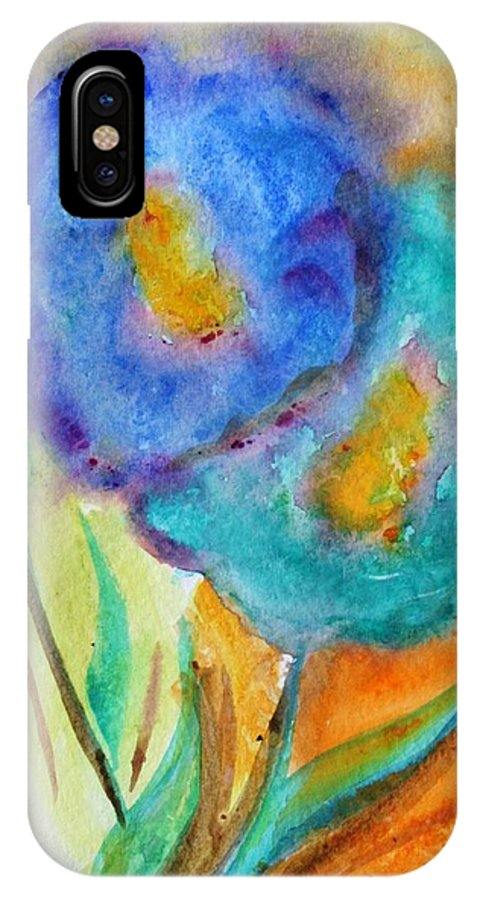 Flowers IPhone X Case featuring the painting Blue Flowers by Luiza Vizoli