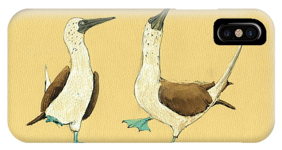 Blue Footed Boobies IPhone X Case featuring the painting Blue Footed Boobies by Juan Bosco