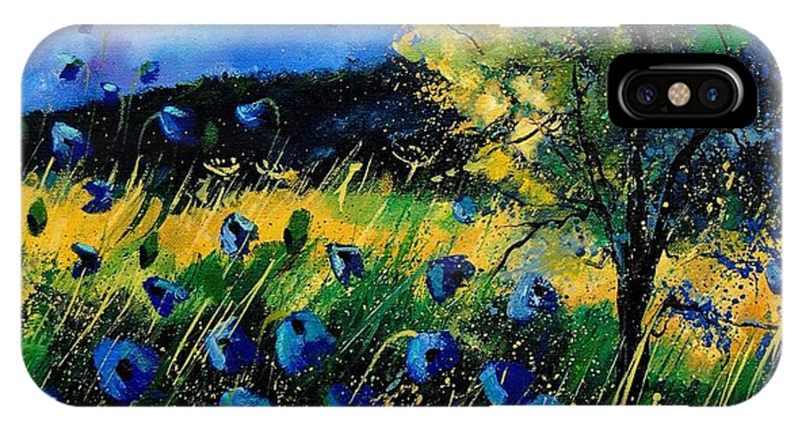 Poppies IPhone X / XS Case featuring the painting Blue Poppies by Pol Ledent