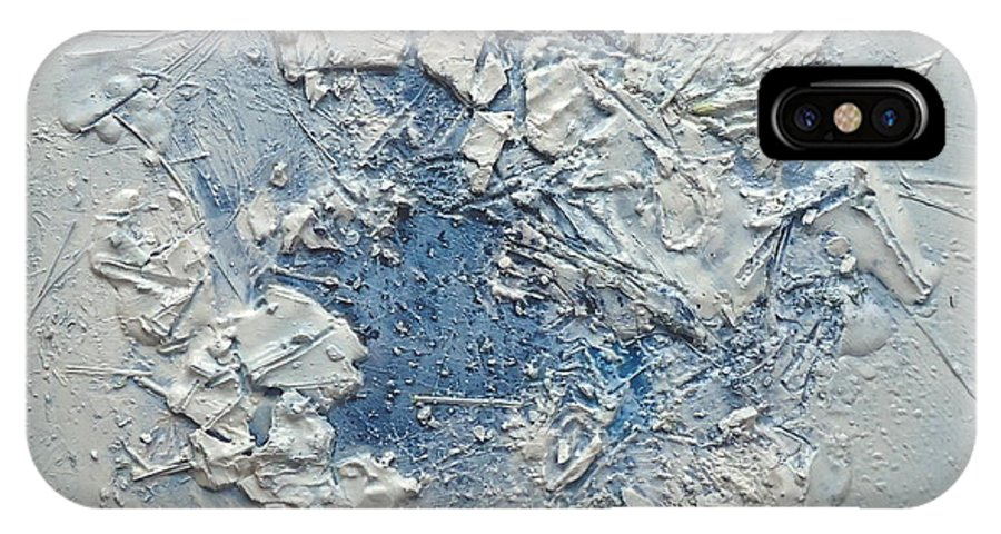 Abstrct IPhone X Case featuring the relief Blue by Rita Scarpelli