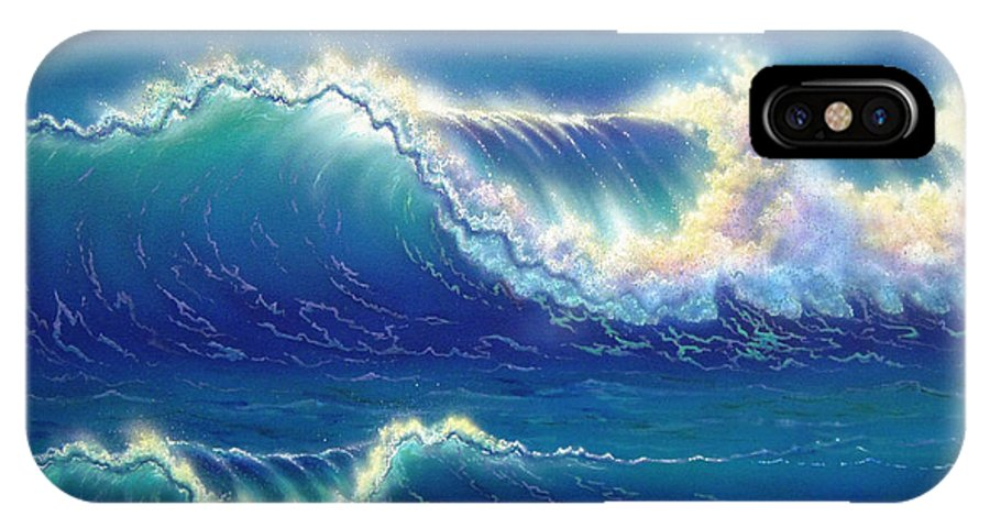 Blue IPhone X Case featuring the painting Blue Thunder by Angie Hamlin