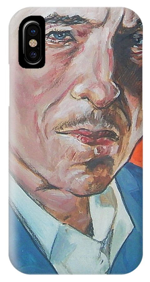 Bob Dylan IPhone X Case featuring the painting Bob Dylan by Bryan Bustard