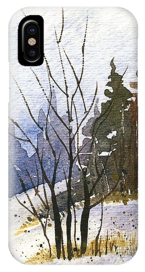 Snow IPhone X Case featuring the painting Branches by Tonya Doughty