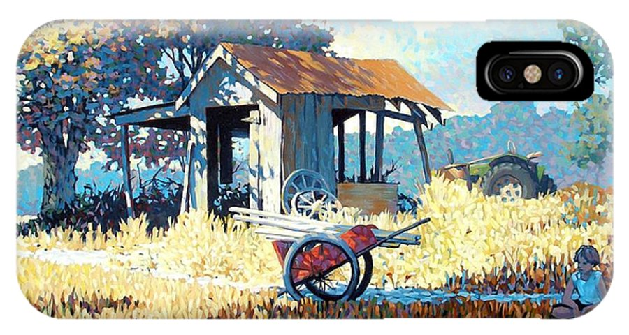 Cart IPhone X Case featuring the painting Breaktime by Kevin Lawrence Leveque