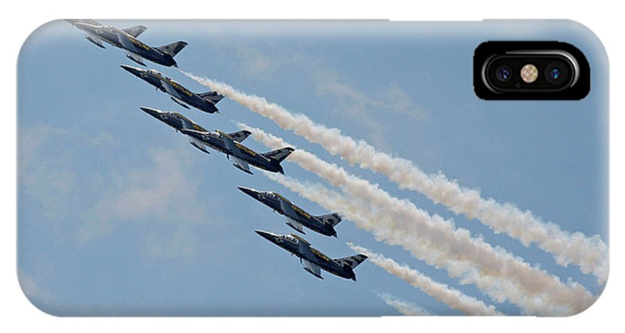 Aircraft IPhone X Case featuring the photograph Breitling Jet Team by Victor Alcorn
