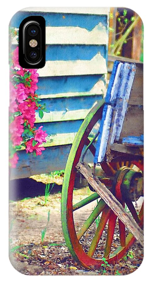 Wagon Wheel IPhone X Case featuring the photograph Broken Wagon by Donna Bentley